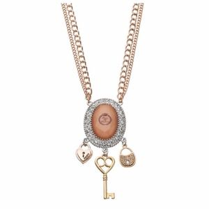 JUICY COUTURE Necklace Rose Gold Crystal Pendant